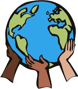 A drawing of children's hands holding up the Earth