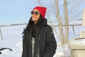 student in winter background