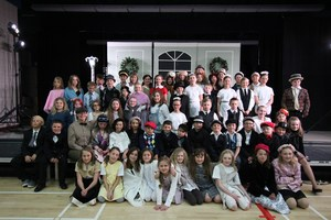 Picture of the cast and crew of our production: Annie Kids, The Musical