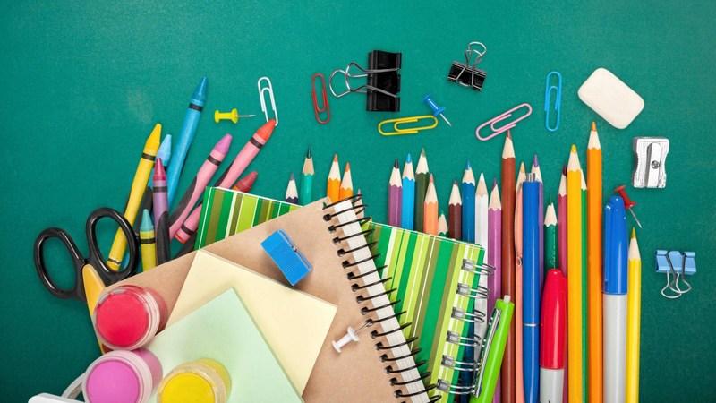 Photo of various school supplies.