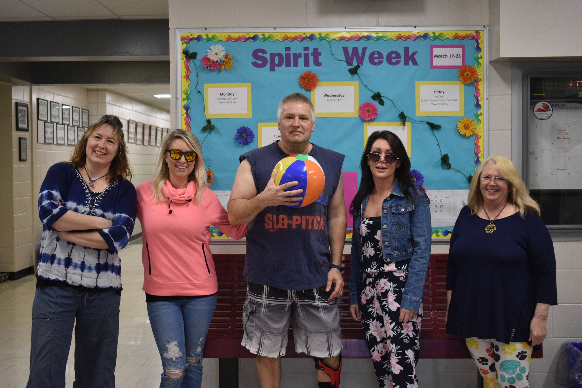 Staff members dressed for Spirit Week activities