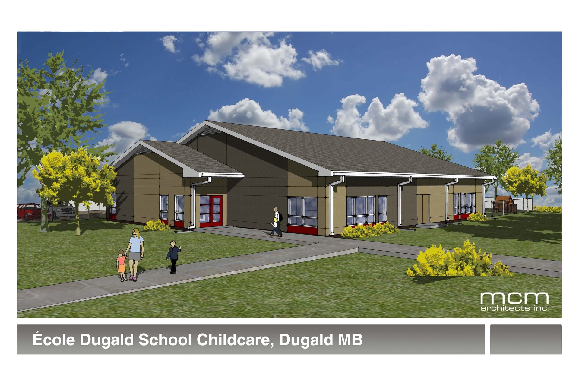 Full colour architect drawing of new daycare building with grass, trees and people walking on the sidewalks.